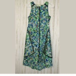 0 Ann Taylor Piped Trim High Low Print Dress